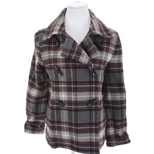 Old Navy Plaid Italian Wool Toggle Peacoat M